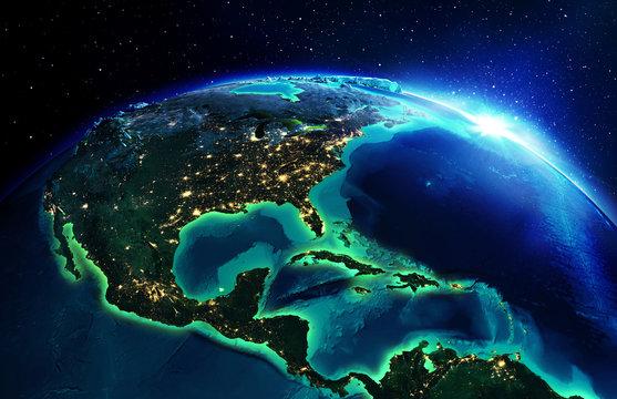 land area in North America the night