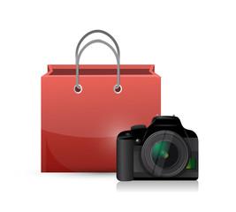 shopping bag and camera illustration design