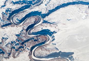 Aerial view of canyon, Alberta's Rockies, Canadian Rockies, Albe