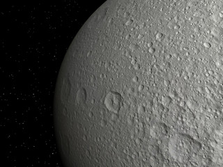 3D rendering of the Saturn Moon Tethys on a starry background, h