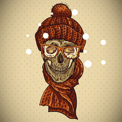 Christmas Hipster Skull. Winter illustration