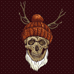 Christmas Hipster Skull. Winter illustration