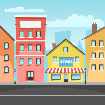 Cartoon illustration of the city with store