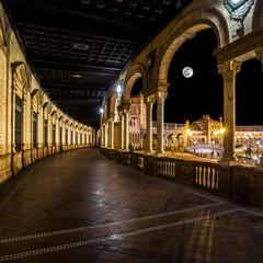 Spanish Square (Plaza de España) in Sevilla at night, Spain.