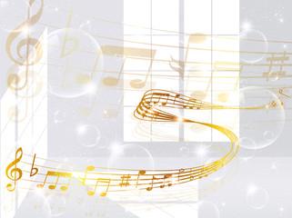 音符 楽譜 窓