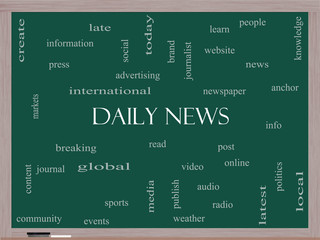 Daily News Word Cloud Concept on a Blackboard