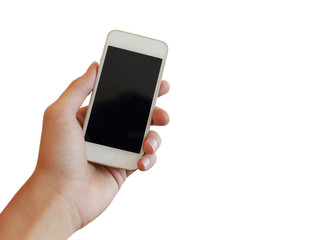 isolated hand using a smart phone on white background