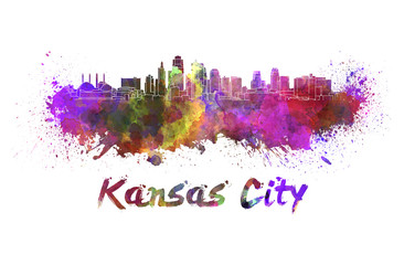 Wall Mural - Kansas City skyline in watercolor