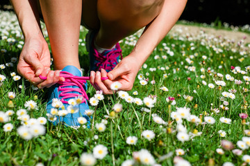 Woman running in spring concept
