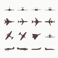 Big collection of different airplane icons.