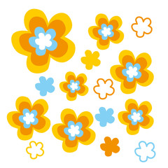 Retro Flowers Gelb - Hippie