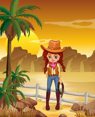 A cowgirl at the dessert