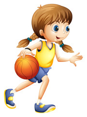 A cute young lady playing basketball