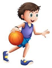 An energetic young man playing basketball