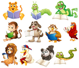 A group of animals reading