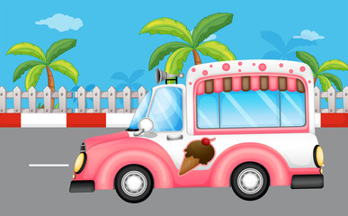 A pink ice cream bus