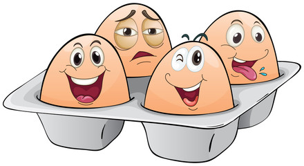 An eggtray with four eggs