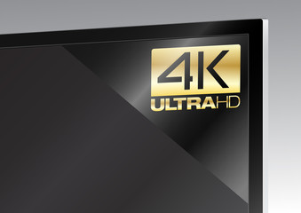 TV avec un autocollant 4K UltraHD