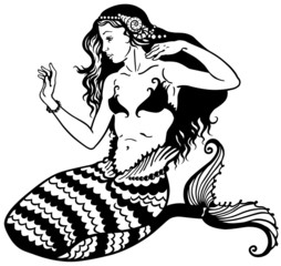 mermaid black white
