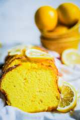 Lemon cake on rustic background
