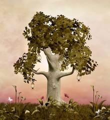 Wall Mural - Enchanted nature series - Spring tree