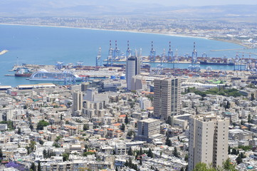 View on the down town of Haifa and Bahai Gardens from Mount Carmel