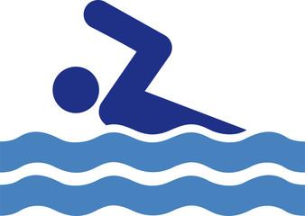 Schwimmer schwimmen baden