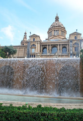 Fountain and Cathedral in Barcelona Spain