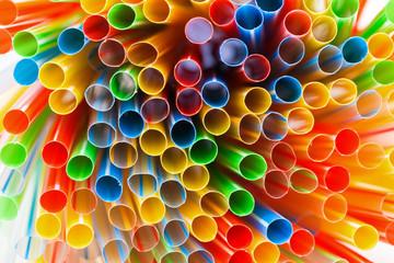 Colored Plastic Drinking Straws closeup
