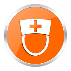nurse orange glossy icon