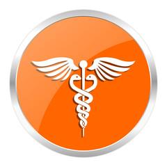 emergency orange glossy icon