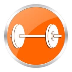fitness orange glossy icon