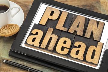 plan ahead phrase in wood type