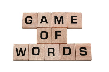Phrase game of words made with tiles