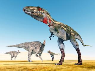 The Dinosaurs Corythosaurus and Nanotyrannus