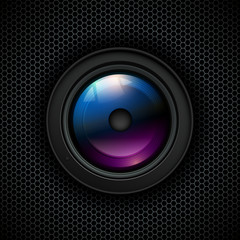 Background with photo lens icon