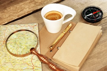Compass Magnifier Vintage Notepad Gold Pen Coffee Cup Wood Table