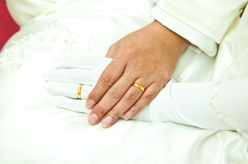 Gold rings on groom and bride's ring fingers