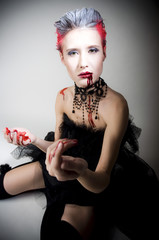 Sexy woman in blood