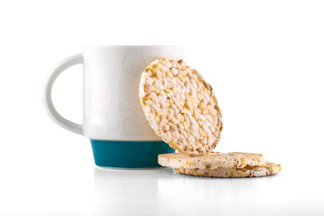 Coffee mug with rice waffles