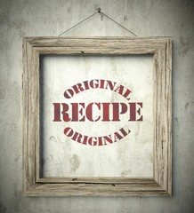 Original recipe emblem in old wooden frame