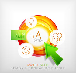 Swirl web design infographic bubble - flat concept