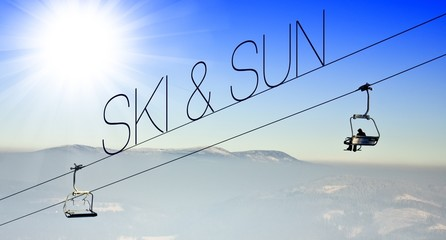 Ski and sun on ski lift creative conceptual illustration