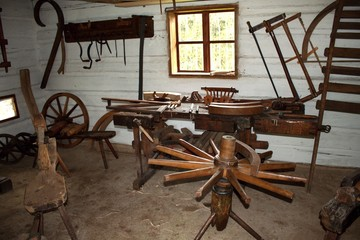 carpenter's workshop, manufacturing of wooden wheels for carts