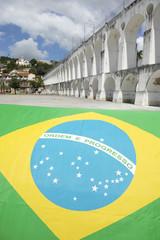 Brazilian Flag at Lapa Arches Rio de Janeiro Brazil