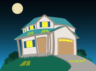 Sweet house in night