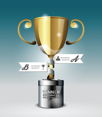Abstract 3d winner trophy Infographic Design style template.