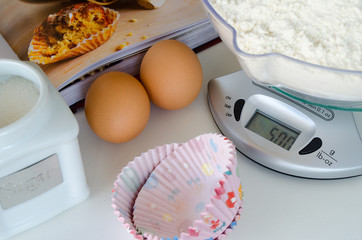 Weighing scale with baking ingredients