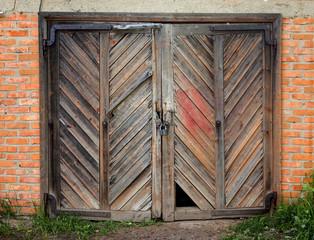 Old wooden barn door.