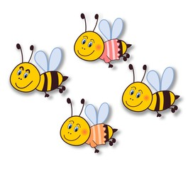 Smiling bee stickers-isolated on white